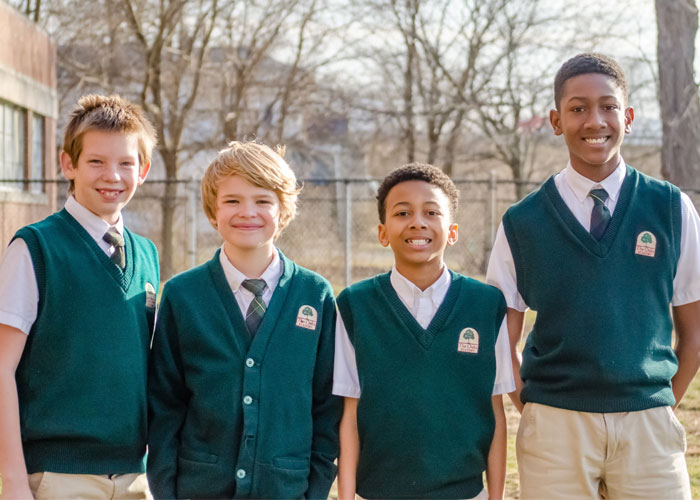 Oaks Academy middle school boys outside
