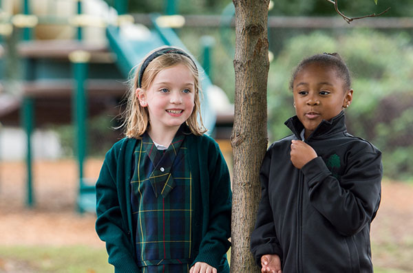 Oaks Academy lower school students at recess