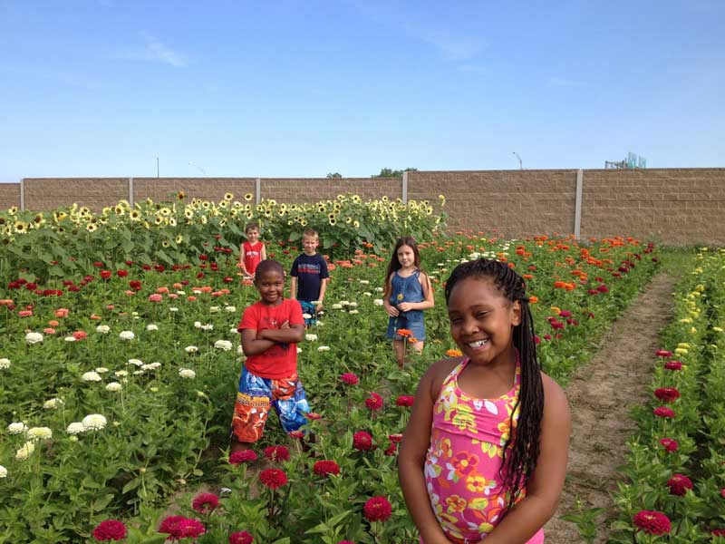 Oaks students in a field of flowers at Oaks Plus