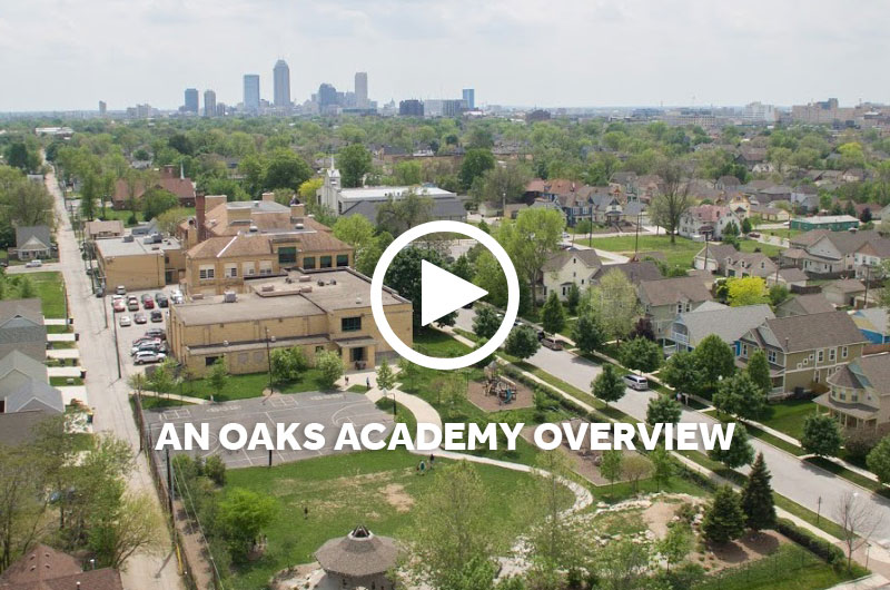 Indianapolis skyline with The Oaks Academy Fall Creek