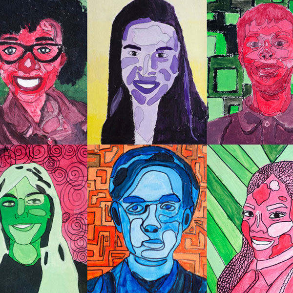 Colorful self-portraits done by Oaks Academy middle school students